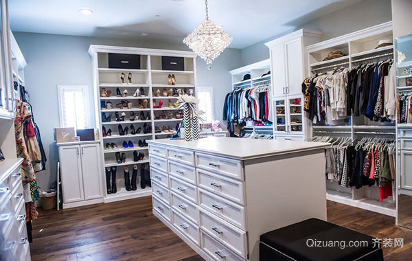 大户型欧式风格简约精致室内衣帽间装修效果图赏析