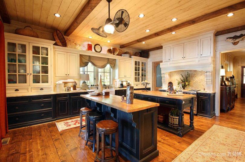别墅型欧式田园风格室内开放式厨房装修效果图