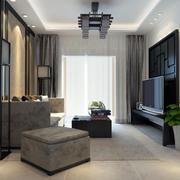 80平米现代中式风格精致室内客厅吊顶装修效果图