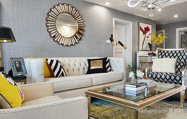 90平米现代美式风格精致温馨室内公寓装修效果图赏析