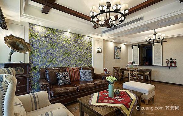 古典美式风格精致两室两厅室内公寓装修效果图