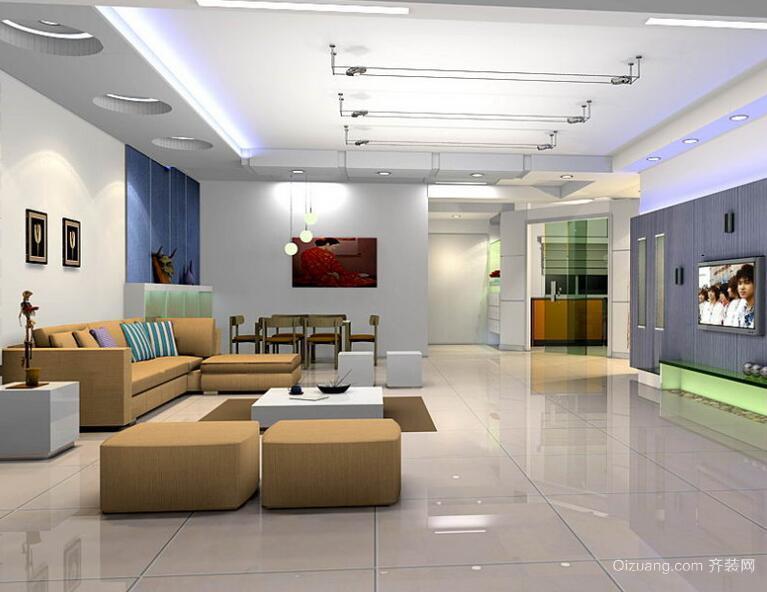 别墅型简欧风格客厅吊顶设计装修效果图