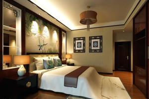 中式风格精致三居室主卧室装修效果图