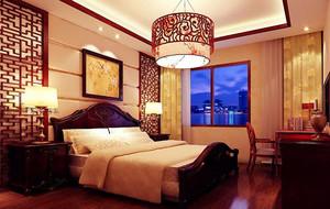 现代中式风格精致典雅三居室卧室装修效果图