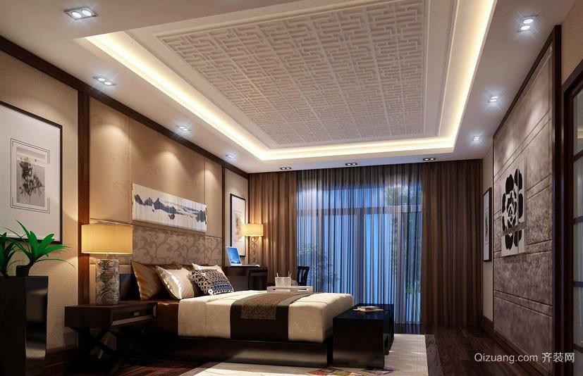 三居室现代中式风格卧室吊顶装修效果图