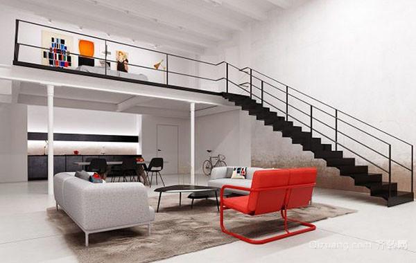 70平米错层现代风格loft自然清新公寓装修效果图