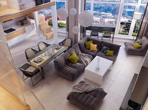 50平米错层现代简约风格温馨公寓装修效果图