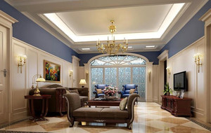 2016年大户型美式风格精致客厅吊顶装修效果图