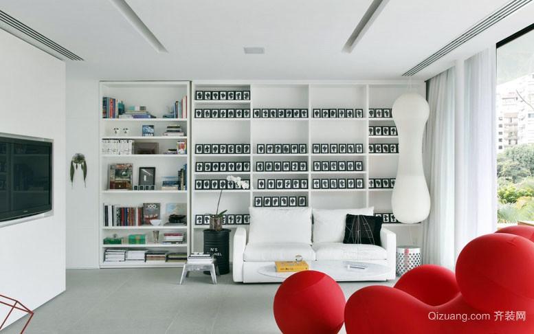 120平米现代简约风格创意书房书架装修效果图