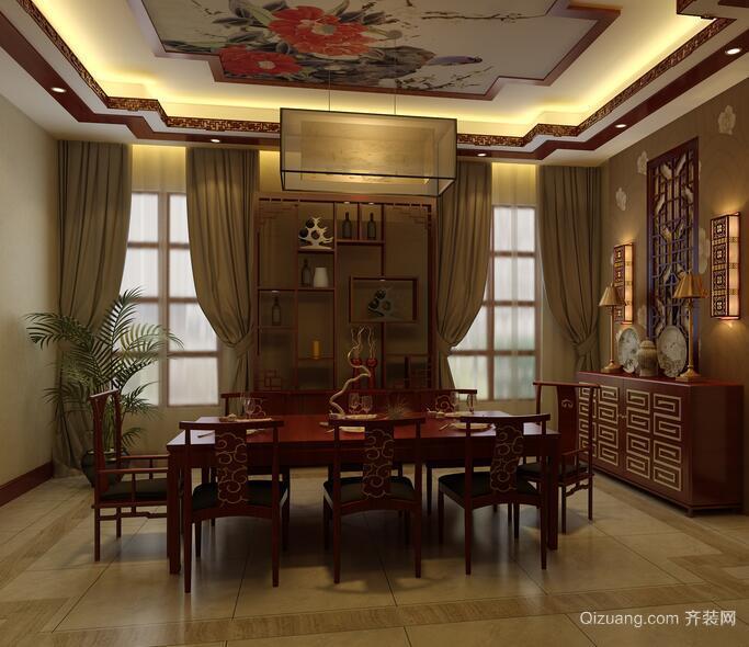 100平米中式风格餐厅设计装修效果图欣赏