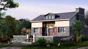 80平米农村风格平房整体设计装修效果图