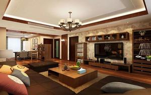120平米东南亚风格精致客厅吊顶装修效果图