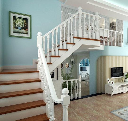 复式楼地中海风格自然简约室内楼梯装修效果图