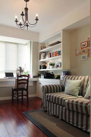 小户型现代美式田园风格客厅小书房装修效果图
