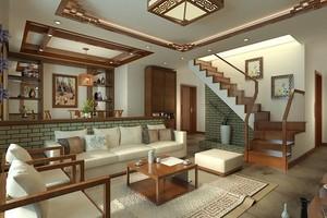 新中式风格复式楼别墅楼梯装修效果图赏析