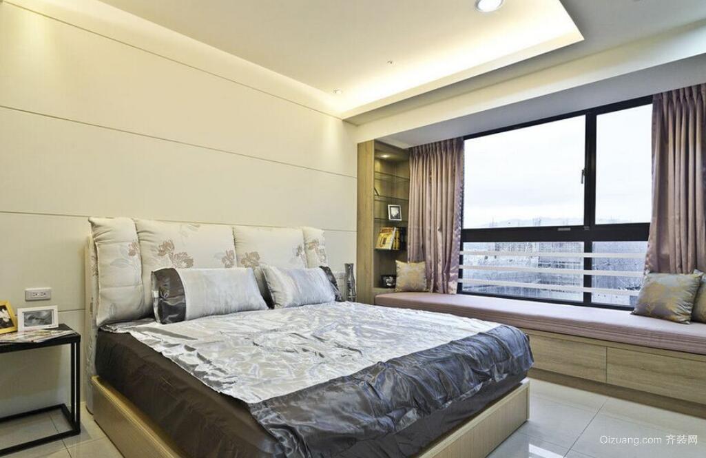 100平米三居现代简约风格卧室飘窗实景图