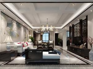 都市大户型现代风格客厅背景墙装修效果图