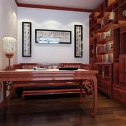 中式风格书房博古架效果图