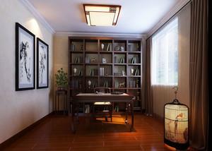 120平米新中式风格室内书房吊顶装修效果图