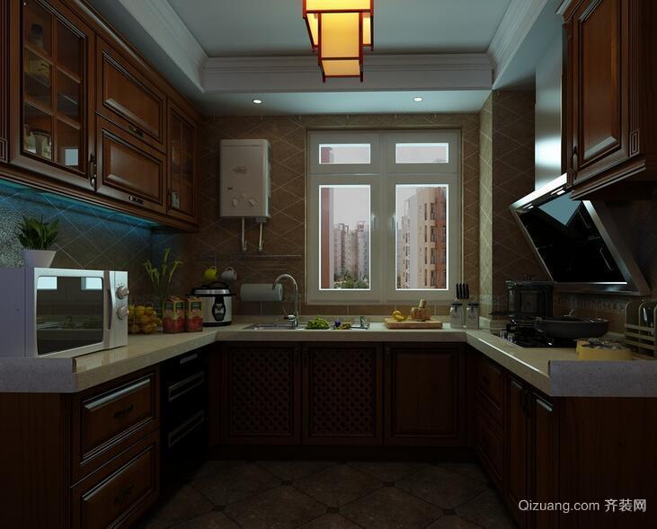 90平米大户型欧式厨房吊顶设计装修效果图