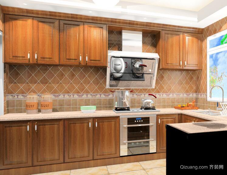 120平米大户型欧式厨房室内装修效果图欣赏