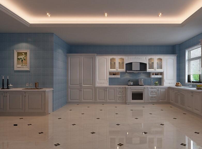 别墅型欧式开放式厨房室内吊顶设计装修效果图