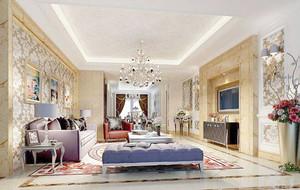 欧式风格别墅室内精致客厅装修效果图赏析