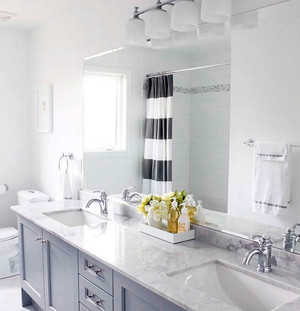 大户型现代美式风格精致卫生间洗漱台装修效果图