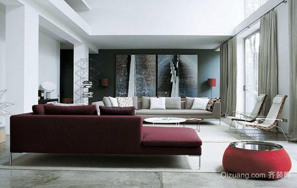 80平米现代简约风格时尚创意客厅装修效果图