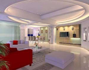 90平米现代简约客厅吊顶设计装修效果图欣赏