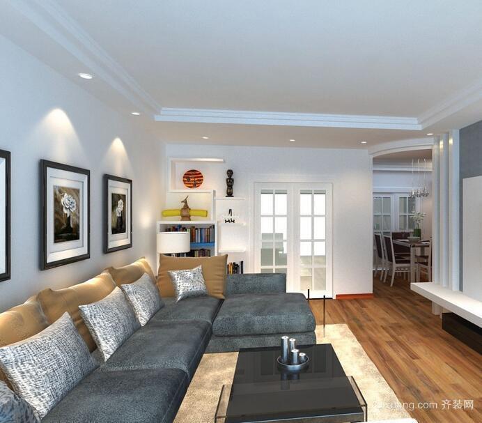 2016别墅型欧式客厅室内吊顶设计装修效果图