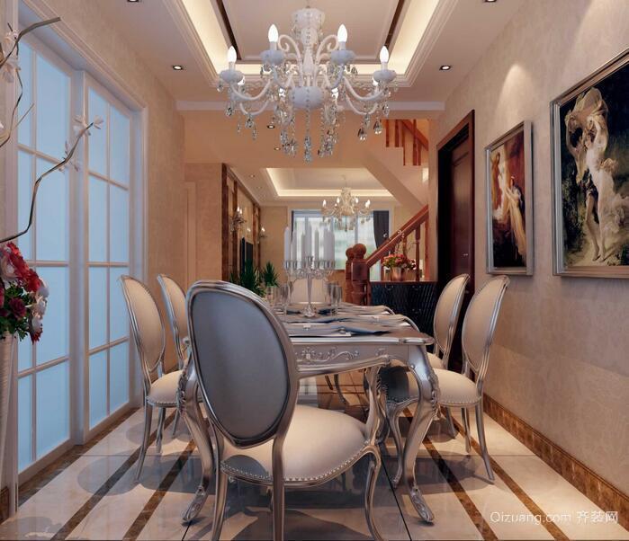 精美的现代欧式别墅餐厅背景墙装修效果图