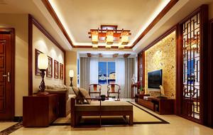 90平米三居室中式风格精致客厅电视背景墙装修效果图