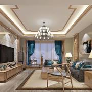 新中式风格100平米室内客厅电视背景墙装修效果图