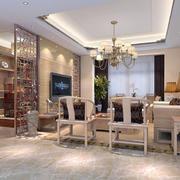 新中式风格大户型客厅隔断装修效果图
