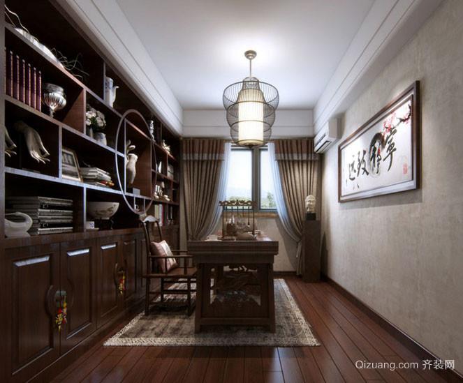 中式风格120平米室内书房博古架装修效果图