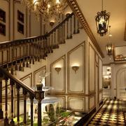 欧式精致别墅楼梯设计装修效果图