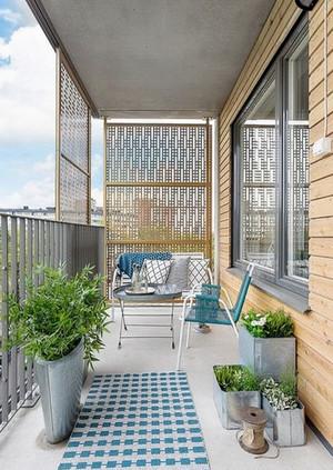 5平米北欧风格简约阳台护栏装修效果图