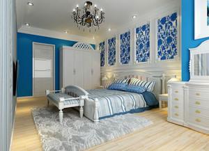 三居室地中海风格室内卧室门装修效果图