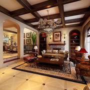 古典美式风格别墅型室内客厅吊顶装修效果图