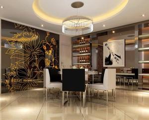 唯美的欧式风格餐厅背景墙装修效果图