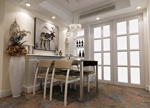 三居室欧式风格餐厅吊顶装修效果图