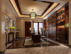 120平米新中式风格精致室内书房装修效果图
