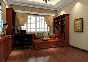 2016年大户型新中式风格室内书房榻榻米装修效果图