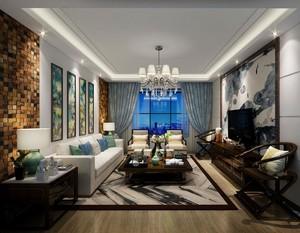 2016经典的现代别墅中式客厅装修效果图实例