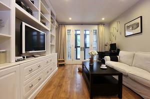 美式风格简约时尚70平米室内精致客厅电视柜装修效果图