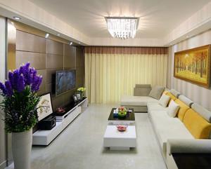 110平米都市精致生活室内客厅窗帘设计实景图