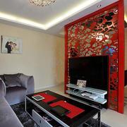 两居室现代简约风格时尚混搭客厅隔断装修效果图