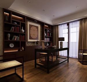 120平米古典中式风格精致雅韵室内书房装修效果图