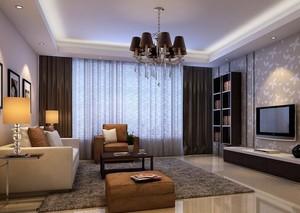 别墅现代简约客厅窗帘装修效果图实例